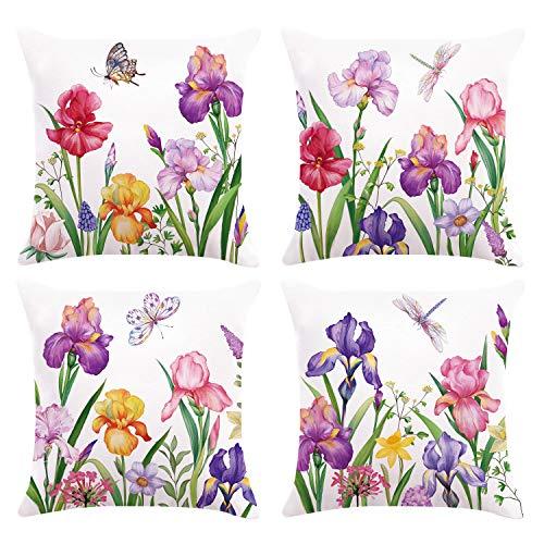 Bonhause Juego de 4 Funda de Cojín 45x45cm Flores de Iris Narciso Terciopelo Suave Fundas de Almohada para Cojines Decorativos para Exterior Sofá Cama Coche Hogar