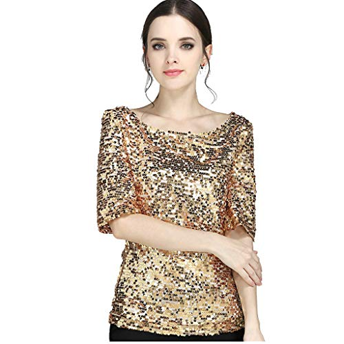 Linkay T Shirt Damen Langarm Bluse Tops Pailletten Oberteile Mode 2019 (Gold, XX-Large)