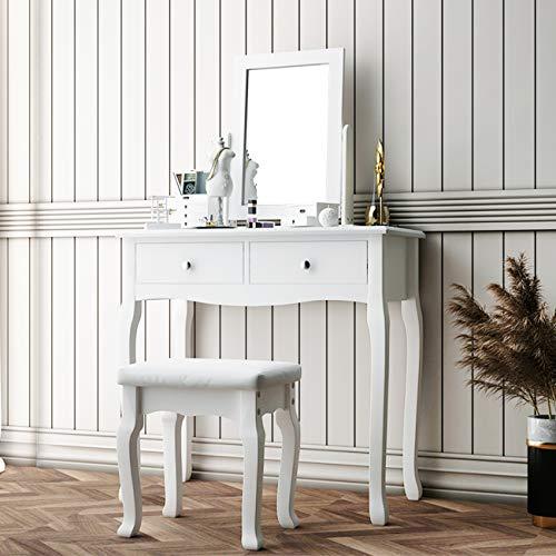 SogesPower Schminktisch mit Spiegel und Hocker, Schminktisch Set 2 Schubladen Schlafzimmer Kommode Schminktisch mit gepolstertem Hocker, Weiß