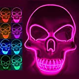 Halloween Scary Mask Light Up Mask for Party Favor Supplies with 3 Modes (pinkK)