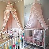 Baldachin für Kinder, Baby-Bettwäsche, Runde Kuppel hängende Moskitonnetz, Kinder Spielzelt Baumwolle Moskitonetz, Raumdekoration für Kinder (Rosa) - 3