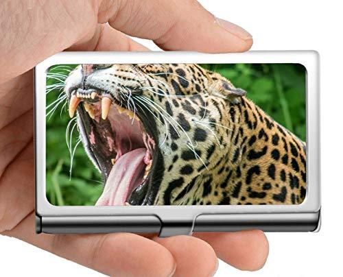Visitenkartenetui, Jaguar-Raubtierstreukatze Spot Edelstahl-Kartenhalter-Kartenetui Ausgezeichnetes Design für Männer und Frauen