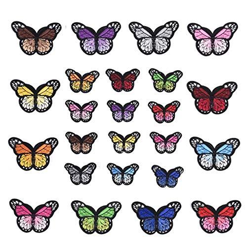 Ymwave 24 Pezzi Farfalle Adesivi Ricamato Farfalle Toppe Termoadesive per Decorazione Fai da Te Magliette Scarpe Toppe di Riparazione