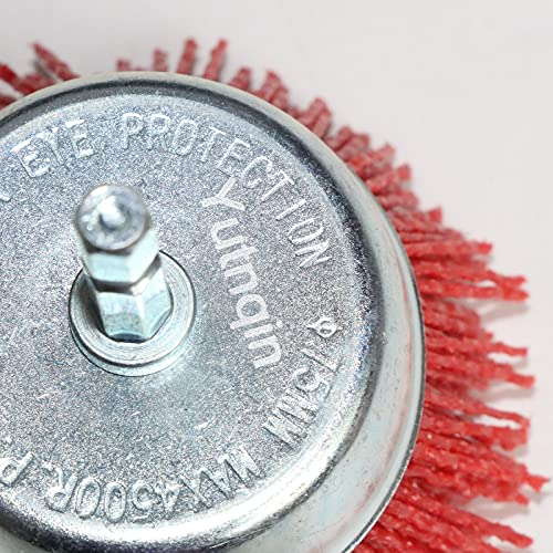 Yutnqin 2Pcs 3 Inch Abrasive Wire Nylon Cup Brush for Drill,Grit 80 with 1/4