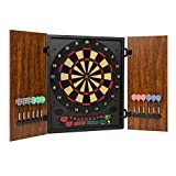 OneConcept Dartmaster 180 - Auto Darts, Electronic Targets, E-Darts, PC Game, 27 Games, 150 Variants, 8 Players Max, 9 Keys, LED Display, 12 Darts - Brown