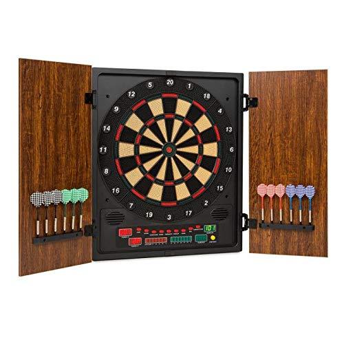 OneConcept Dartmaster 180 Dartautomat elektronische Dartscheibe E-Darts (Spielcomputer, 27 Verschiedene Spiele, 150 Spielvarianten, bis zu 8 Spieler, virtueller Gegner, 2 Türen) braun