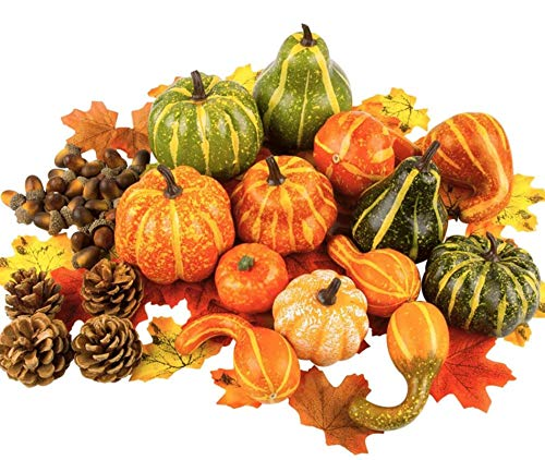 Toopify Artificial Pumpkins and Gourds, 13PCS Assorted Lifelike...