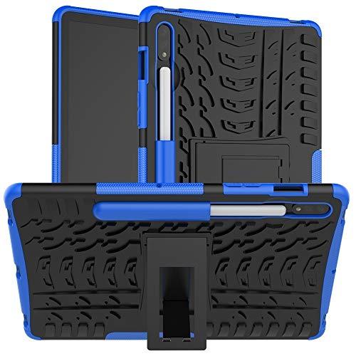 YIHUI Funda Protectora para Tablet PC Caja Protectora Galaxy Tab for Samsung S7 T870 / T875 Textura del neumático a Prueba de Golpes de TPU + PC con el sostenedor (Color : Blue)