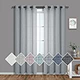 Pitalk White Grey Curtains 84 Inch Length for Living Room 2 Panels Set Grommet Semi Sheer Window Drapes Burlap Linen Textured Light Filtering Gray Farmhouse Curtains for Bedroom Rustic 52x84 Long Dove