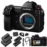 Panasonic Lumix DC-S1R Mirrorless Digital Camera (Body Only) - Panasonic Accessory Bundle - Extra Panasonic DMW-BLJ31 Battery and Charger + Panasonic DMW-RS2 Remote Shutter + More