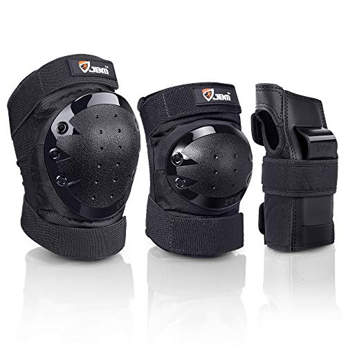 JBM Adult Child Knee Pads Elbow Pads and Wrist Guards Full Protective Gear for Skateboarding Skate Inline Riding Beginner Scooter Roller Skater (Black, Medium)