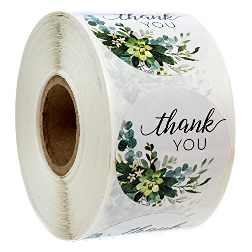 """Boho Greenery Thank You Stickers - 1.5"""" Circle Labels / 500 per Pack"""