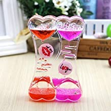 Angora Creations Wheel Droplet Timer Hourglass Double Heart Shape Valentines Day for Girlfriend, Wife, Fiance, Boyfriend, ...