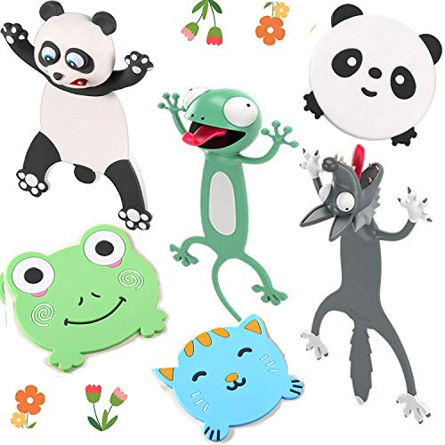 6 Pieces, 3D Wacky Animal Bookmarks, Cartoon Cute and Funny Bookmarks Palz-3d, Cartoon Animal Bookmark, Bookmarks for Kids and Student, Cute Book Marks (Panda, Wolf, Gecko)