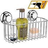 MaxHold Sistema de vacío Rectangular Cesta de la Ducha - No-perforar - Acero Inoxidable Nunca Moho - Almacenamiento de la Cocina&baño