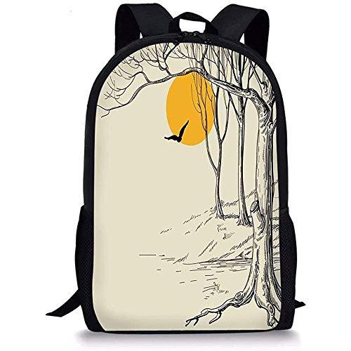 Mei-shop Schultaschen-Wohnung DecorFull Moon im Wald mit trockener Niederlassung und ruhiger ruhiger Natur ArtprintEcru Schwarz-Gelb der Möve