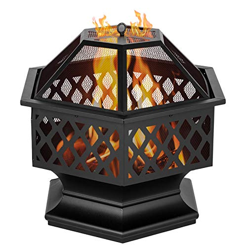 QILLIINN fire Pit for Garden and Patio with rain cover? Upgrade Black Steel Garden Heater/Burner for Wood & Charcoal? Includes BBQ Grill?Spark Guard, Poker and Protective Cover (Hexagonal?