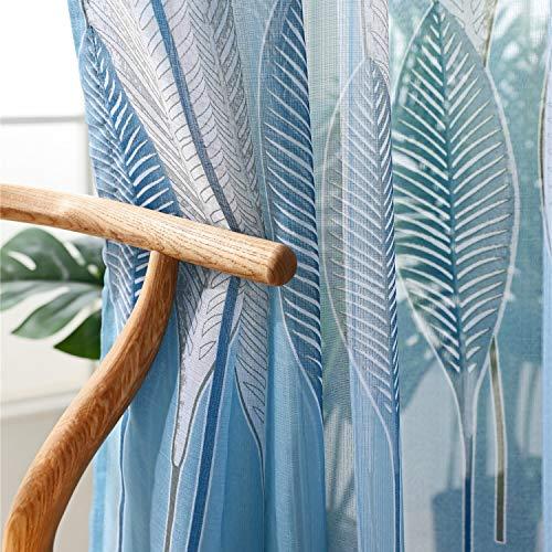 ZYY-Home curtain Cortinas Bordado Translucida Visillos Cortinas con Gancho para Ventanas Habitaciones Dormitorios Salones Decoración Moderna para Hogar,Blue,W100xL250cm*1piece