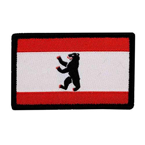 Café Viereck ® Bundesland Patch Berlin Flagge Gewebt mit Klett - 6 cm x 3,7 cm