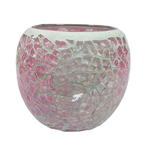 VANKOA Mosaikglas Windlicht Teelichthalter Teelicht Kerzenhalter Glas Mosaik Deko Accessoires Kugel Geschenkidee Weihnachten - Rosa A