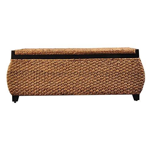 Taburete de almacenamiento LXF Cesto de Mimbre de Hierba Banco de Almacenamiento de heces Otomana de Ocio Marco de Madera Maciza Forro de Lino Taburete de sofá (Color : Style 2)