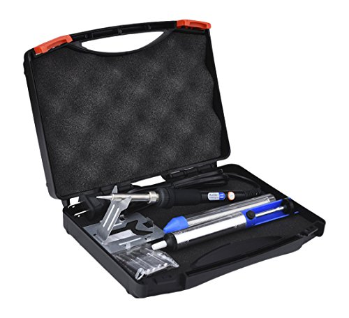 6-in-1 Electronic Soldering Kit with Tool Box including Black 60W Adjustable Temperature Soldering Iron, Solder Sucker, Solder, Stand and Tips