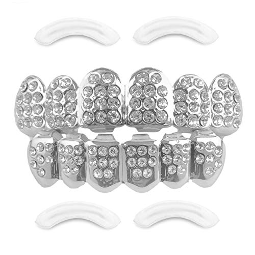 24K Plated Joker Gold Grillz for Mouth Top Bottom Hip Hop Teeth Grills for Teeth Mouth + 2 Extra Molding Bars, Storage Case + Microfiber Cloth (Silver Diamonds)