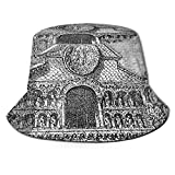 Unisex Cute Bucket Hat,Vintage Engraving of Notre-Dame la Grande in Poitiers Historical Monument