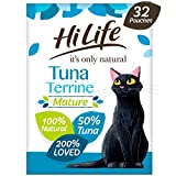 HiLife it's only natural - Complete Wet Food for Mature Cats (7+) - Tuna Terrine in Jelly - 100% Natural Ingredients Grain Free, 32 Pouches x 70g