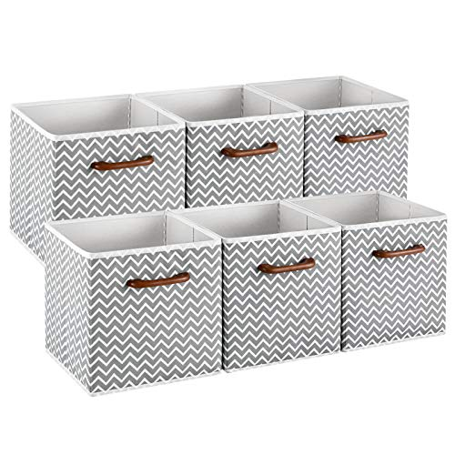 MaidMAX Cloth Storage Bins Cubes Baskets Containers with Wooden Handle for Home Closet Bedroom Drawers Organizers Foldable Gray Chevron Set of 6
