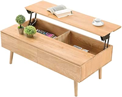 Lift Top Coffee Table with Hidden Compartment and 2 Storage Drawer, Accent Elegant Wood Liftable Desk, Home Furniture for Living Room Reception Room Office