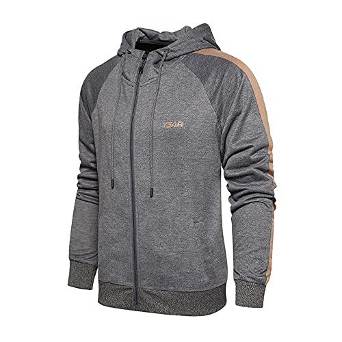 NHNKB Set composto da felpa e pantaloni da uomo in pile, pantaloni lunghi, senza cappuccio, giacca per le mezze stagioni, B grigio., XL