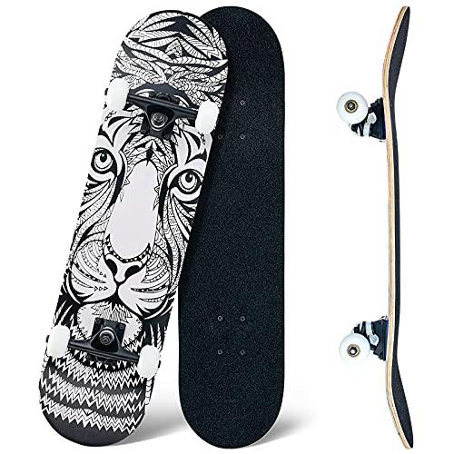 CLYCTIP Skateboard,80 x 20 cm Skateboard completo per principianti, 8 strati di acero concavo Cruiser Trick Skateboard per ragazzi e adulti