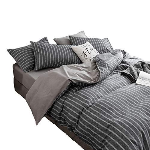 ZHANYI Housse de Couette en Coton à Rayures Assorti for Homme Drap de lit Gris Assorti/Taie d'oreiller Simple Quatre Ensemble de Textiles Taille Multiple réversible (Size : Full/Queen)