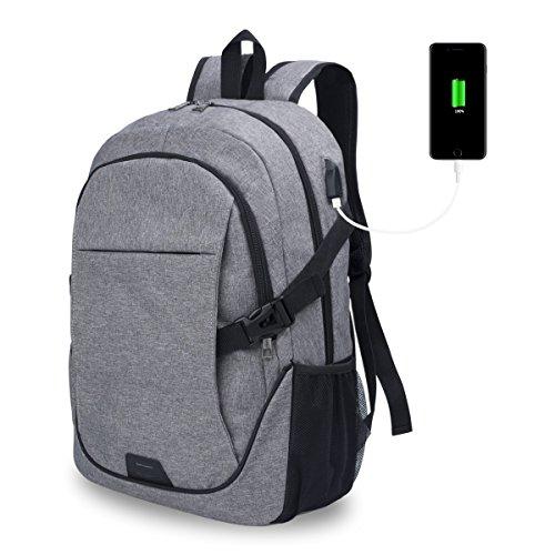 Chrislley Laptop Rucksack, Damen Herren Notebook Business Tasche mit USB Kabel und Anschluss für bis zu 15. 6 Zoll Stylisch Oxford Rucksäcke Gepolstert Daypacks für Arbeit Schul Outdoor (Grau)