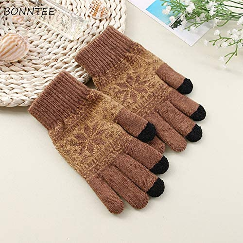 Gloves Men Five Fingers Warn Soft Knitting Winter Fashion Leisure Outdoor Bicycles Mens Daily Mittens Adults Chic - (Color: black1, Gloves Size: One Size)