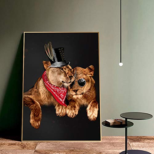 Pster Impresiones de Pared Art Lions Wall Art Canvas Painting Disfraz Sombrero Imagen de Animal Impresin de Lienzo Pster para Sala de Estar Home Wall Decor-50x70cm Sin Marco
