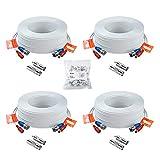 Anlapus 4pcs 30m/100 pies Cable BNC Video y Fuente de Alimentación para CCTV Kit Cámara de Vigilancia DVR Sistema Seguridad Hogar (4 pack blanco)
