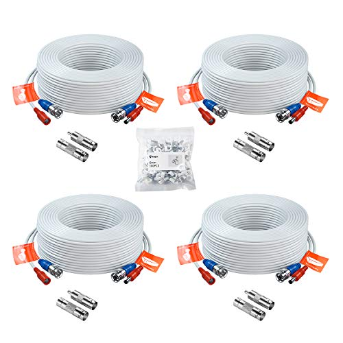 Anlapus 4pcs 30m/100 pies Cable BNC Video y Fuente de