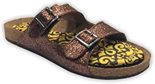 Colour Me Mad Bronze Glitter, Natural Cork, Washable, All Weather, Vegan, Made in India, PETA Certified, Women Sandals (Slider)