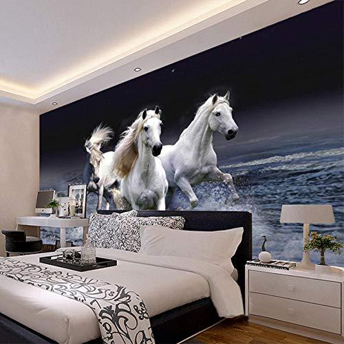 3D behang paard wit met landschap tippen 3D behang woonkamer slaapkamer TV achtergrond 200 * 140cm