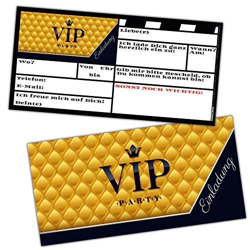 VIP Einladungskarten Set XL (24 Stück) edle Premium Einladungen für VIP-Party Event Kinder-Geburtstag für Jungen Mädchen & Erwachsene von BREITENWERK®