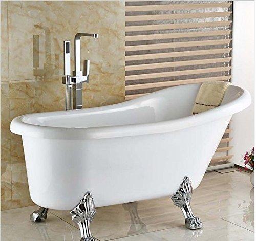 Gowe Chrome brillant sur pied de sol Plat Laiton Mitigeur baignoire Baignoire robinet Poignée simple avec douchette en ABS