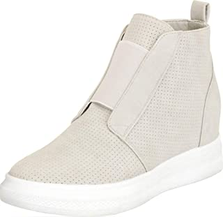 Cambridge Select Women's High Top Lasercut Perforated Stretch Slip-On Chunky Low Hidden Wedge Fashion Sneaker
