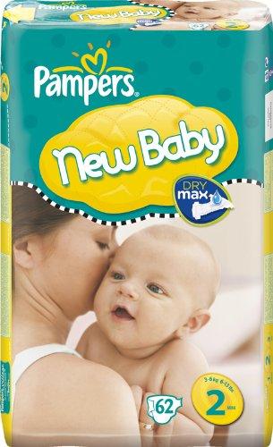 Pampers New Baby Windeln Gr. 2(3–6kg/6–13Pfund)–2x Wirtschaft Packungen von 62(124Windeln)