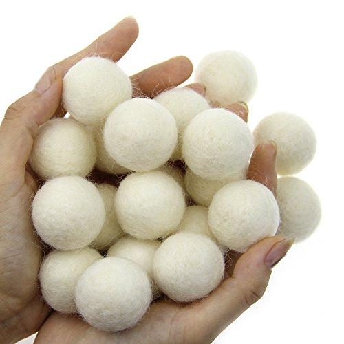 Zasy 30mm Needle Wool Felt Balls Foam Filled Wool Felt Pom Pom Home Decor DIY (White)