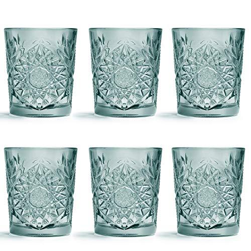 Libbey Trinkglas Hobstar Grün - 355 ml / 35.5 cl - 6 Stück - Vintage-Design - spülmaschinenfest - hohe Qualität