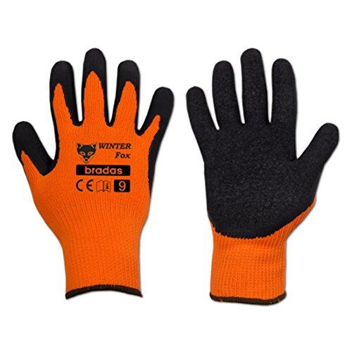 Bradas RWWF9 12 Paar Profi Winterarbeitshandschuhe Latex Größe 9, orange, 7 x 3 x 3 cm