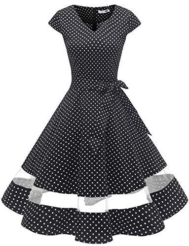 Gardenwed Annata 1950 retrò Rockabilly Polka Vestito da Audery Swing Abito da Cocktail Partito con Maniche Corte Black Small White DOT XS