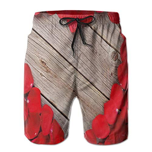 Bright Wide Vintage Animals Peony Swim Trunks for Men Quick Dry Surf Board Shorts No Mesh Lining Beach Wear